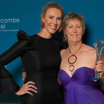 Award Winning Tennis Coaching | Helen with Alicia Molik with the 2017 Newcombe Medal - Coaching Excellence - Club